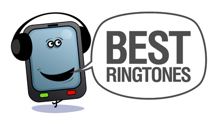 Cartoon mobile phone with headphones, who says best ringtones. Vector