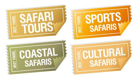 Safari tours stickers in form of  tickets. Vector