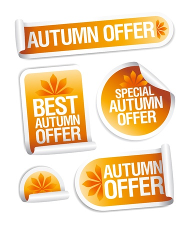 discount banner: Best autumn offers stickers set.