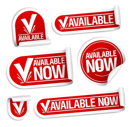 Available now stickers set. Vector