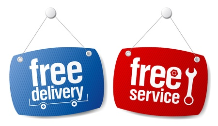 set free: Free delivery signs set.