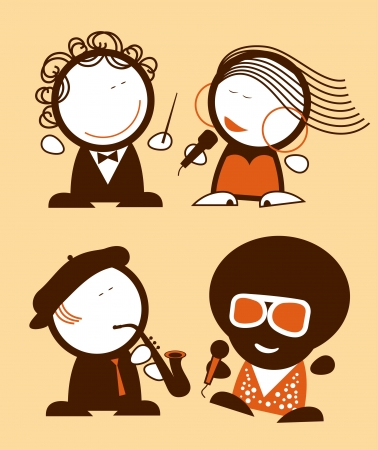 soloist: Set of singers funny people icons. Illustration