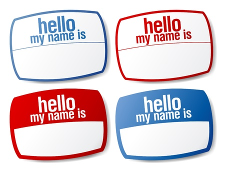 Hello my name is color signs with blank white copyspace for text message. Vector