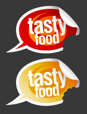 Tasty food stickers set in form of speech bubbles. Stock Vector - 10283274