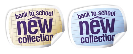 Back to school - new collection stickers set. Vector