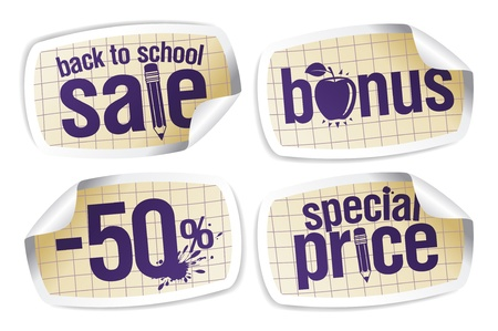 Back to school sale stickers set. Vector