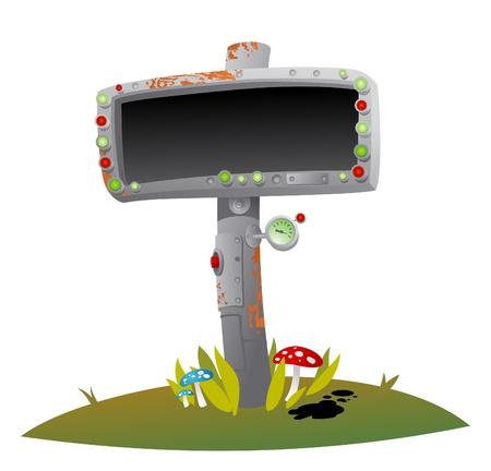 barometer: Metal pointer on the roadside. Illustration