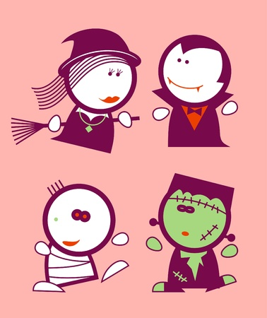 zombie cartoon: Set of halloween funny peoples icons.