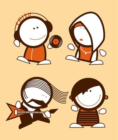 emo: Aantal muzikanten, grappige mensen pictogrammen.
