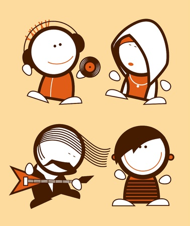 Set of musicians, funny people icons. Vector