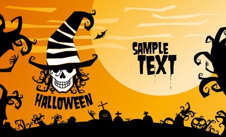 Halloween background for party invitation illustration. Vector