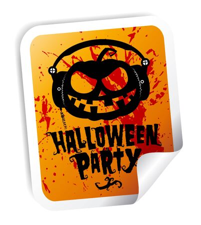 Halloween party sticker with pumpkin wear headphones Stock Vector - 10481849
