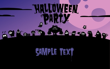 spooky tree: Halloween party invitation, with place for text.