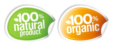 100% natural product, 100% organic stickers set. Stock Vector - 10481866