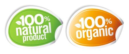 pricetag: 100% natural product, 100% organic stickers set.