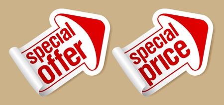 on special offer: Special price stickers in form of arrow.