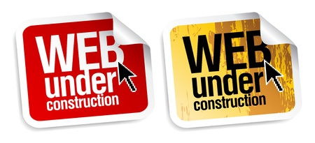 web page under construction: Web under construction stickers set.