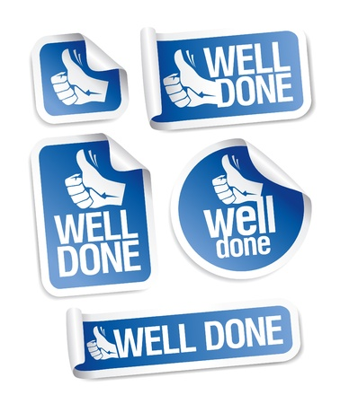well done: Well done stickers with hand thumbs up symbol.