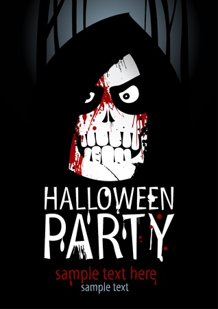 horrors: Halloween Party Design template, with death and place for text. Illustration