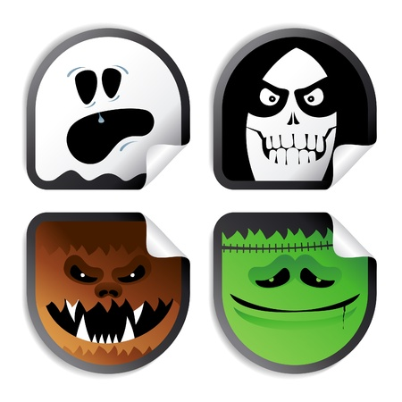 Monster smileys, halloween wicked stickers. Vector