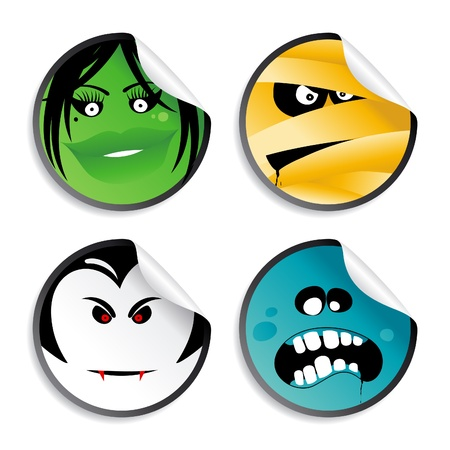 Monster smileys, halloween wicked stickers. Vector