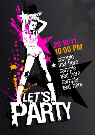 party club: Let`s Party design template with fashion girl and place for text.