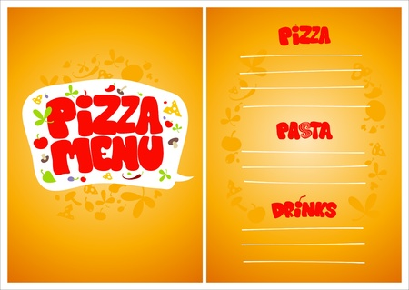 eating fast food: Pizza Menu Card Design template.