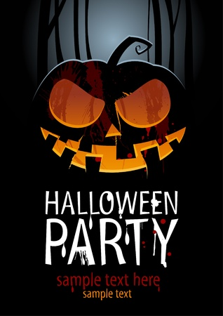 Halloween Party Design template, with pumpkin and place for text. Vector
