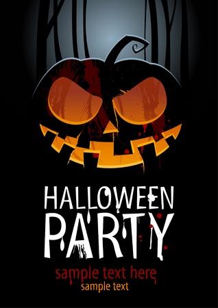 halloween poster: Modello di Halloween Party Design, con zucca e luogo per il testo. Vettoriali