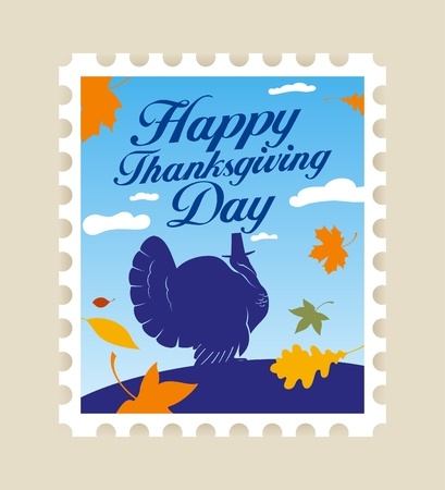 Happy Thanksgiving Day postage stamp. Vector