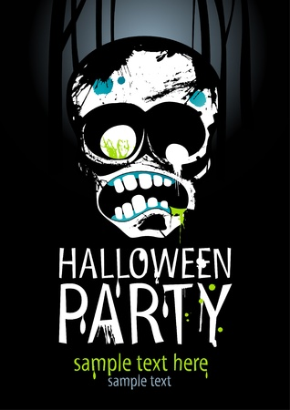 halloween silhouette: Halloween Party Design template with zombie and place for text.