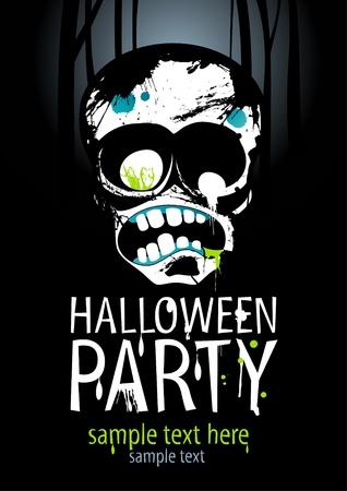 party dj: Mod�le de Halloween Party conception avec zombie et le lieu de texte. Illustration
