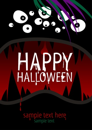 intertainment: Happy Halloween Design template with place for text. Illustration