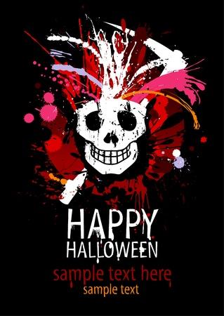 fiesta dj: Plantilla de diseño de Halloween feliz con cráneo grunge y lugar para el texto.