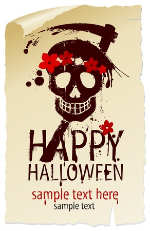 scary night: Happy Halloween Design template with female skull and place for text.