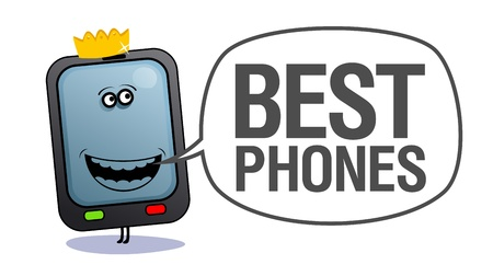 communication cartoon: Cartoon mobile phone with crown, who says best phones. Illustration