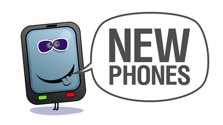 Cartoon mobile phone in sun glasses, who says new phones. Stock fotó - 10617238