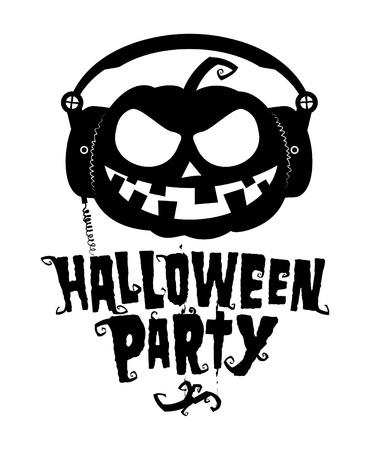 Halloween party, pumpkin wear headphones illustration. Vector