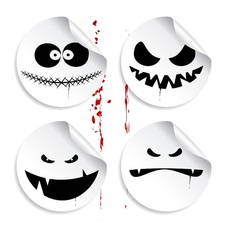 event icon: Monster smileys on blood background, set of halloween stickers. Illustration