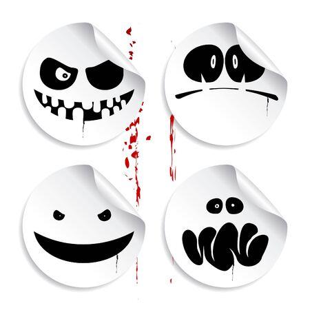 smileys: Monster smileys on blood background, set of halloween stickers. Illustration