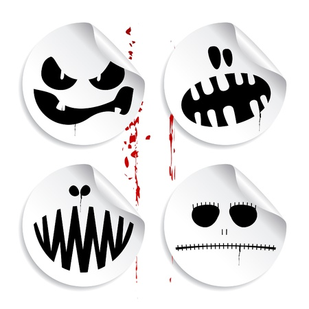 Monster smileys on blood background, set of halloween stickers. Illustration