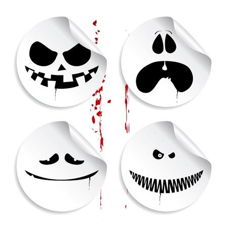 Monster smileys on blood background, set of halloween stickers. Vector