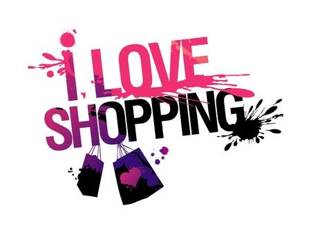 шопоголика: Я люблю ходить по магазинам, векторная иллюстрация с брызгами. Иллюстрация
