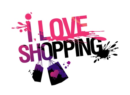 clothes shop: I love shopping, vector illustration with splashes. Illustration