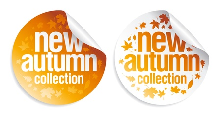 New autumn collection stickers set. Vector