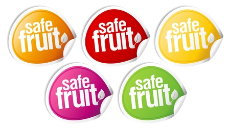Safe fruit stickers set for clean products. Stock Vector - 10617255