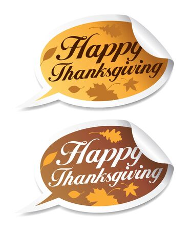 thanksgiving day greetings: Happy Thanksgiving stickers in form of speech bubbles. Illustration