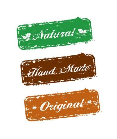 vieze handen: instellen van ecologie zegels met de woorden: natuurlijke, hand gemaakt, oorspronkelijke