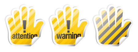 radioactive: Set of warning signs in form of palm
