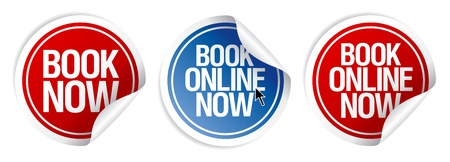 Book online now stickers set. Vector